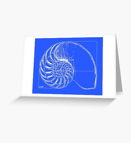 Fibonacci on a nautilus shell (blue) Greeting Card