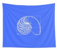 Fibonacci on a nautilus shell (blue) Wall Tapestry