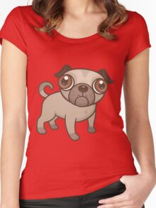 Pug Puppy Cartoon Women's Fitted Scoop T-Shirt