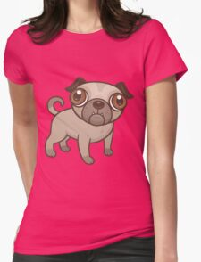 Pug Puppy Cartoon Womens Fitted T-Shirt