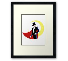 Tuxedo Mask on White Framed Print