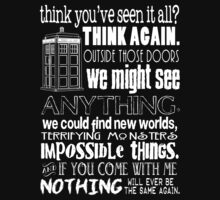 Inspired by The Doctor - Best Doctor Quotes - Typography Design - Never Be the Same Again Quote Kids Clothes