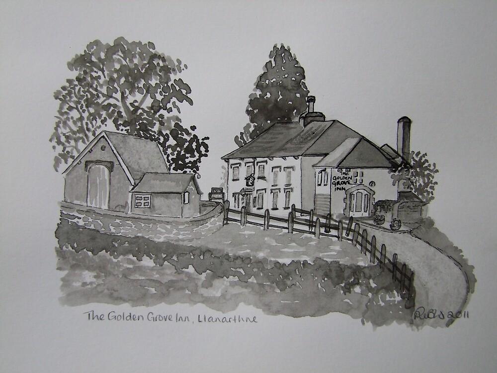 Pen and Ink-The Golden Grove Inn-Llanarthne-01 by Pat - Pat Bullen-Whatling Gallery