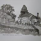 Pen and Ink-The Golden Grove Inn-Llanarthne-01 by Pat - Pat Bullen-Whatling Gallery