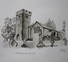 Pen and Ink-Llangathen Church-01 by Pat - Pat Bullen-Whatling Gallery