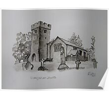 Pen and Ink-Llangathen Church-01 Poster