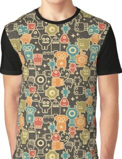 Robots on brown Graphic T-Shirt