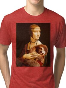 Lady with a Sloth Tri-blend T-Shirt