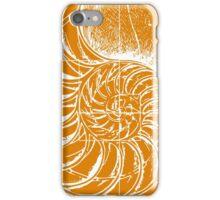 Fibonacci on a nautilus shell (orange) iPhone Case/Skin