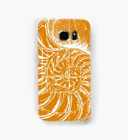 Fibonacci on a nautilus shell (orange) Samsung Galaxy Case/Skin