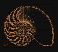 Fibonacci on a nautilus shell (orange) One Piece - Short Sleeve