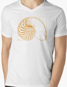 Fibonacci on a nautilus shell (orange) Mens V-Neck T-Shirt