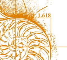 Fibonacci on a nautilus shell (orange) Sticker