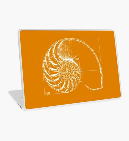 Fibonacci on a nautilus shell (orange) Laptop Skin