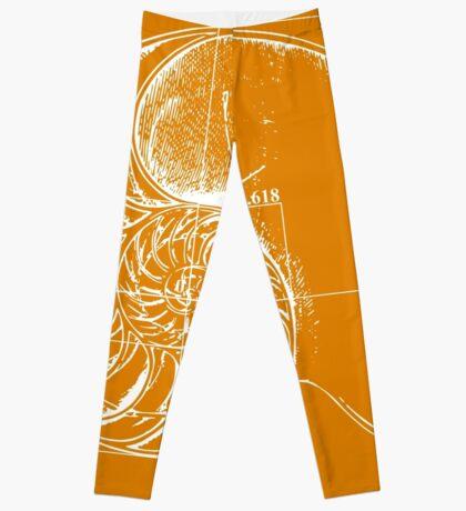 Fibonacci on a nautilus shell (orange) Leggings