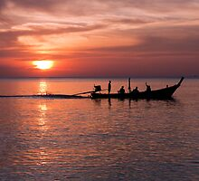 Sunset and long tail boat, Nai Yang, Phuket by Kevin Hellon
