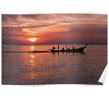 Sunset and long tail boat, Nai Yang, Phuket Poster