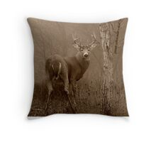 White-tailed Deer Buck in Sepia Throw Pillow