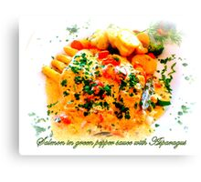 Il Casale ~ salmon in green pepper sauce with asparagus Canvas Print