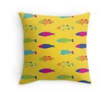 Fishes in Yellow Throw Pillow