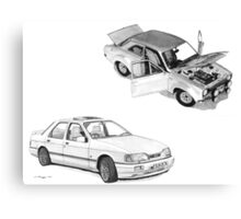 Ford Special RS Escort 1600 Mk 1and RS Cosworth Sierra Sapphire Canvas Print