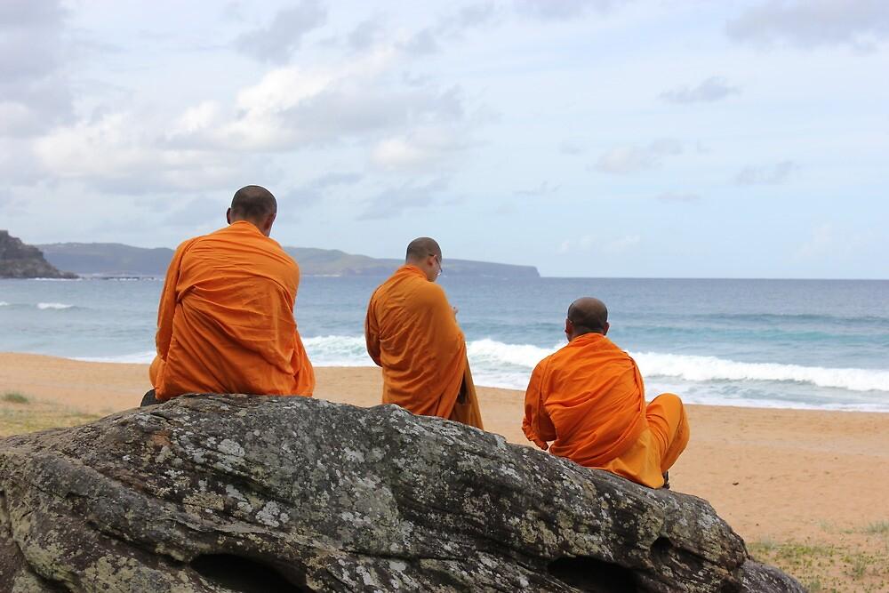 3 Monks on a Rock by l00k