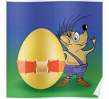 hedgehog and easter egg Poster