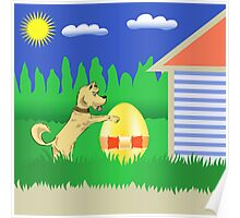 dog and easter egg Poster