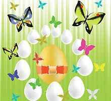 easter eggs and butterflies by valeo5