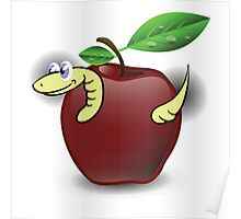 red apple and worm Poster