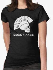 Molon Labe Skull Womens Fitted T-Shirt