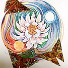 Lotus Mandala and Origami Butterflies by JacquelynsArt