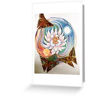 Lotus Mandala and Origami Butterflies Greeting Card
