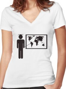 Geography teacher Women's Fitted V-Neck T-Shirt