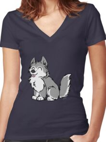 Husky Wuff Grey Women's Fitted V-Neck T-Shirt