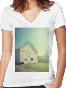 Early Morning in the Country Women's Fitted V-Neck T-Shirt