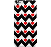 hearts&chevron - red&black iPhone Case/Skin