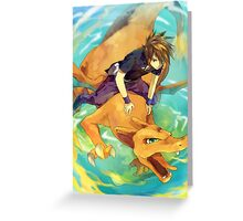 Green & Charizard Greeting Card