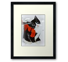 Kitten with red bow Framed Print