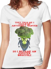 Hipster Broccoli Women's Fitted V-Neck T-Shirt