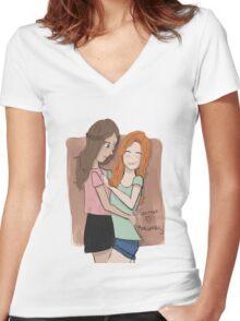 Sansaery Women's Fitted V-Neck T-Shirt