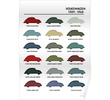 Vintage Colours VW Beetle  Poster