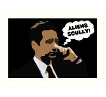 "X-Files Mulder ""Aliens Scully"" Art Print"