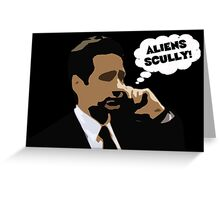 """X-Files Mulder """"Aliens Scully"""" Greeting Card"""