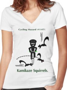 Cycling Hazards - Kamikaze Squirrels Women's Fitted V-Neck T-Shirt