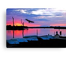 Eagle  Fishermen at Sundown Canvas Print