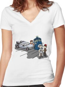 Doctor Meets Doctor Women's Fitted V-Neck T-Shirt