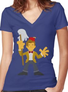 """Matty Doctor Fezzy"" Sticker Women's Fitted V-Neck T-Shirt"