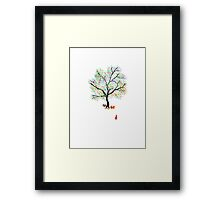 Foxes and Rainbow Tree Framed Print