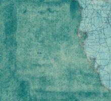 Florida Map Blue Vintage Sticker